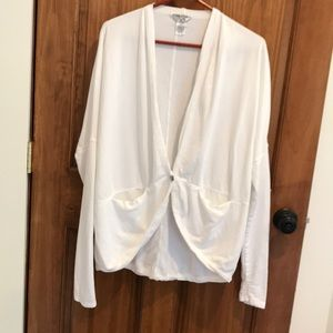 Hard tail forever white cardigan, size small